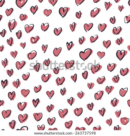 Seamless Hand Drawn Pink Hearts Pattern - stock vector