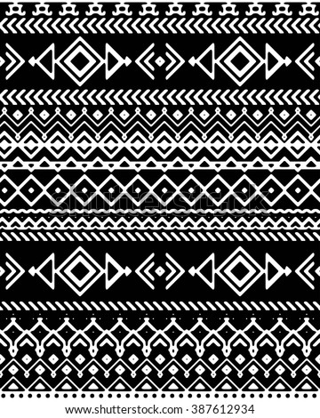 Seamless hand drawn stripes pattern with aztec ethnic and tribal ornament. Vector black and white boho fashion illustration. - stock vector