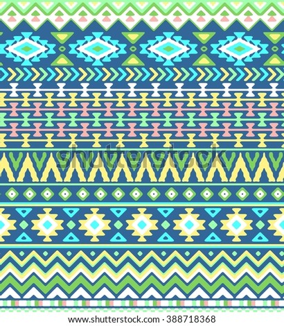 Seamless hand drawn stripes pattern with aztec ethnic and tribal ornament. Vector bright boho fashion illustration. - stock vector
