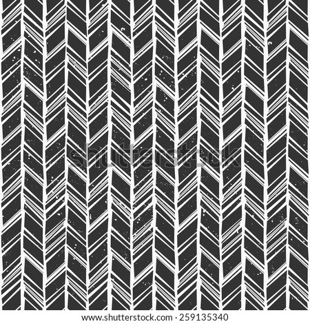 Seamless hand drawn style chevron pattern in black and white. - stock vector