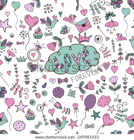 Seamless hand drawn valentine pattern for design sites, cards and wrapping