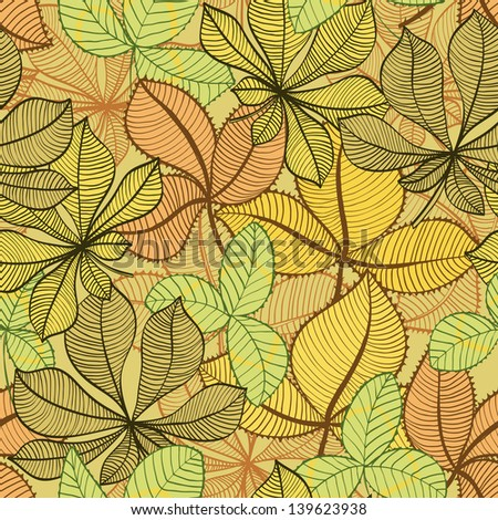 Seamless hand drawn vintage background with autumn leaves - stock vector