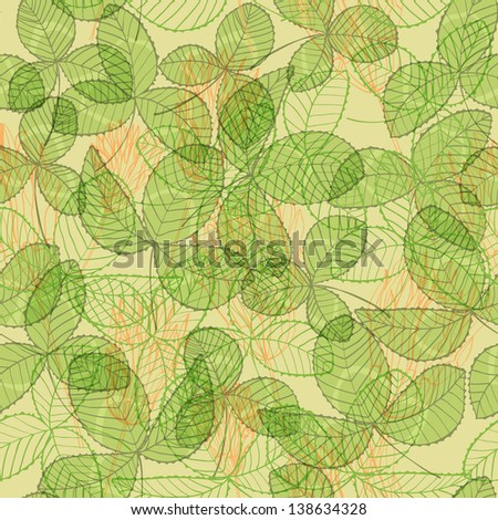 Seamless hand drawn vintage green background with clover flowers and leaves. Eps10 - stock vector