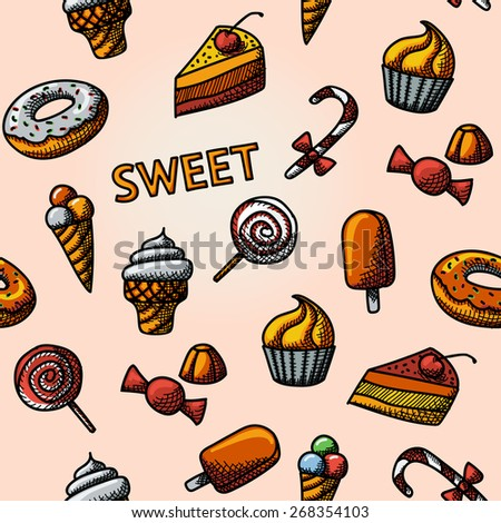 Seamless handdrawn pattern with  - cupcakes, donuts, cakes, ice creams, christmas candy, lollipops, candies. Vector