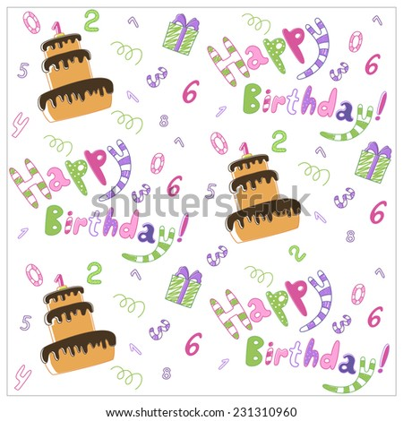 Seamless happy birthday cake and decoration background pattern - stock vector