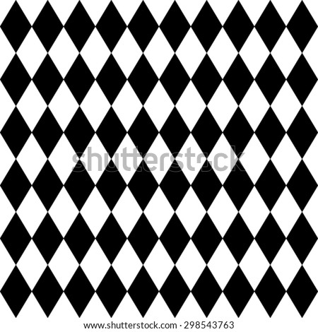 Seamless harlequin or argyle pattern made of black diamonds over white