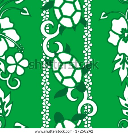 Seamless Hawaiian Turtle Pattern - Green version