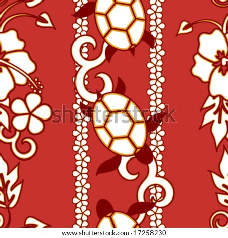 Seamless Hawaiian Turtle Pattern - Red version