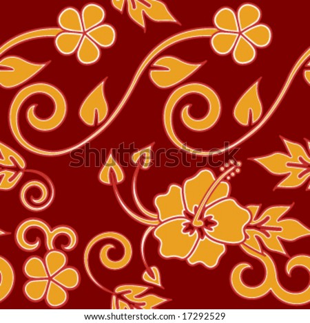 Seamless Hawaiin Flower Pattern - Red version