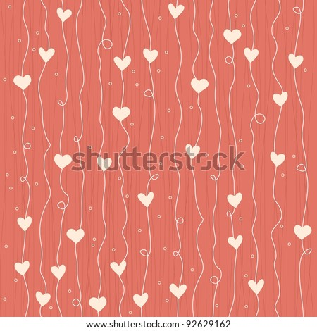 seamless heart growing like flowers pattern - stock vector