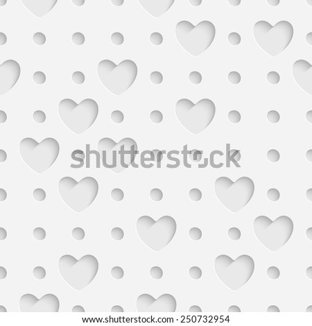 Seamless Heart Pattern. Vector Soft Background. Regular White Texture - stock vector