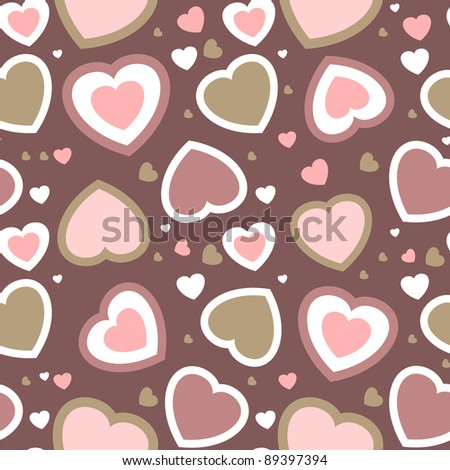 Seamless hearts background in pastel colors - stock vector