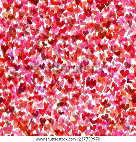 Seamless hearts pattern. Bright Valentine's background for your design. - stock vector