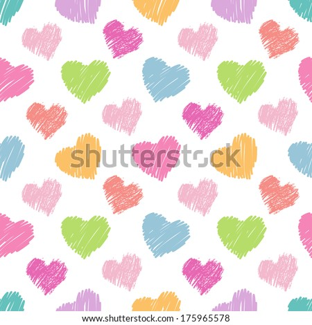Seamless hearts pattern. Hand drawn. - stock vector