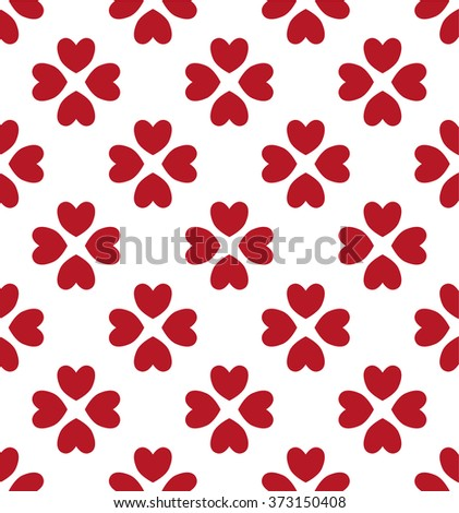 Seamless hearts pattern in red over white  . Valentine's day tile background. Romantic vector pattern.