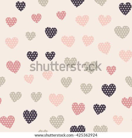 Seamless hearts pattern with beige background. Vector repeating texture.
