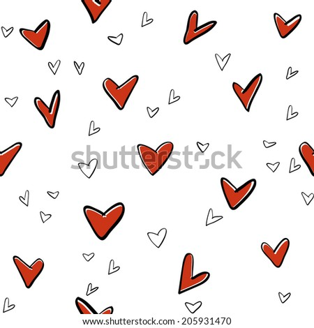 seamless hearts vector elements pattern, fun and effortless,editable, perfect for valentine card and background vector eps 10 - stock vector