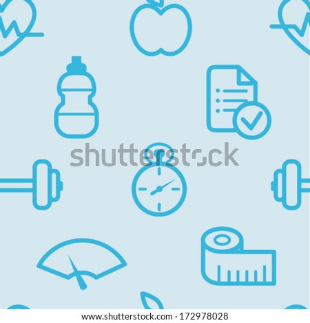 Seamless heath and fitness pattern - stock vector
