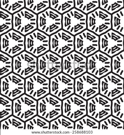 Seamless hexagon geometric pattern with monochrome chemical signs.
