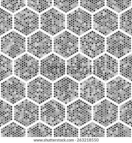 Seamless Hexagon Pattern. Vector Monochrome Background - stock vector