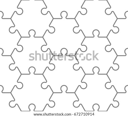 Seamless Hexahedron Puzzle Pattern Hexagon Puzzle Stock Vector