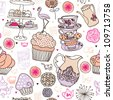 Seamless high tea cake and cats party vector pattern background - stock vector