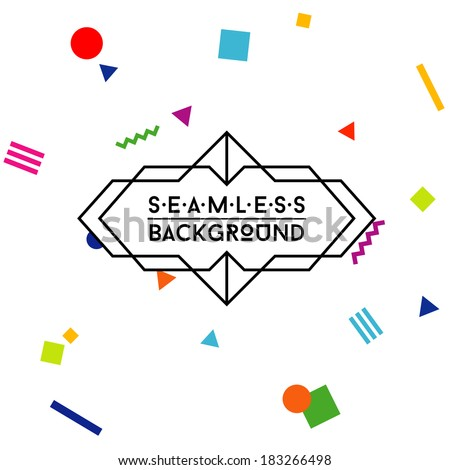 seamless hipster background with label - stock vector
