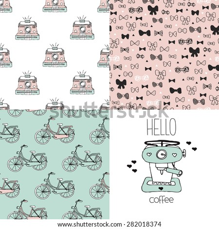 Seamless hipster coffee maker postcard cover template and toy camera bow tie and bike illustration background pattern in vector - stock vector