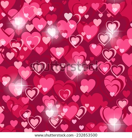 Seamless holiday background with hearts on Valentines day. Illustration. - stock vector
