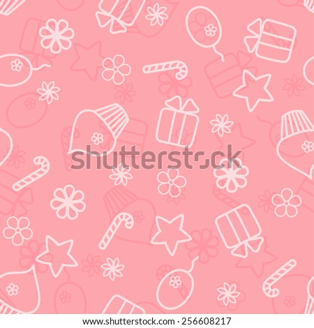Seamless holiday hand drawn pattern in pink colour