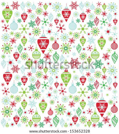 Seamless Holiday Ornament Pattern - stock vector