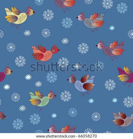 Seamless holiday pattern with birds and snow