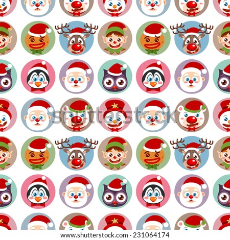 Seamless holiday pattern with cute Christmas character faces - stock vector
