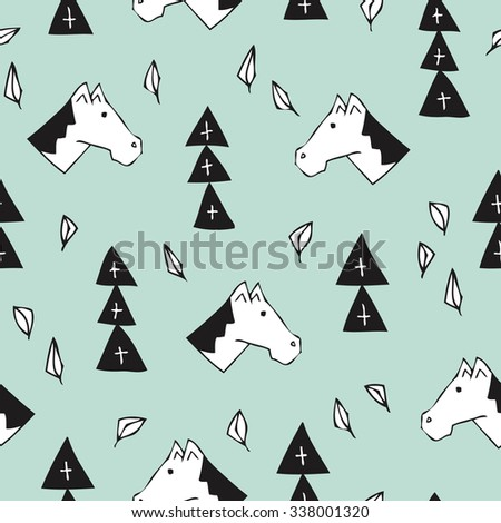Seamless Holland tradition Sinterklaas holiday illustration background wrapping paper pattern in vector mint - stock vector
