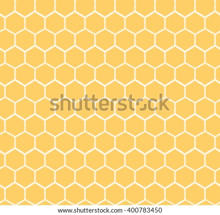 Seamless Honeycomb Pattern. Hand drawn yellow honey sweet background.  Honey pollinate. Yellow bee colony.  - stock vector