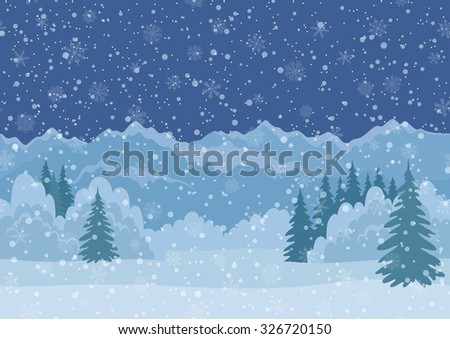 Seamless Horizontal Background, Christmas Holiday Landscape with Night Snowy Sky, Fir Trees, Snowdrifts and Far Mountains in the Distance. Eps10, Contains Transparencies. Vector