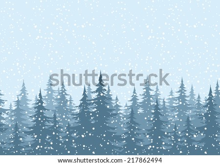 Seamless horizontal background, Christmas holiday trees against the blue sky with snow. Vector - stock vector