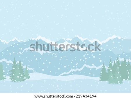 Seamless horizontal background landscape with snowy sky, fir trees, snowdrifts and far mountains in the distance. Vector - stock vector