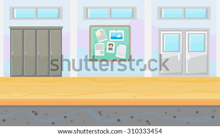 Seamless horizontal background of school corridor for game - stock vector