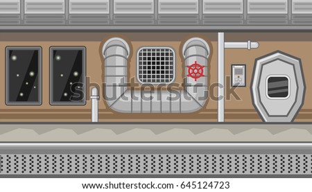 Seamless horizontal background with air ventilation pipe and manhole for game