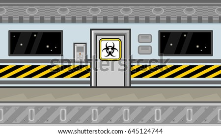 Seamless horizontal background with biohazard sign and caution tape for game
