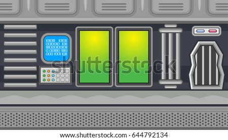 Seamless horizontal background with blue monitor and green windows