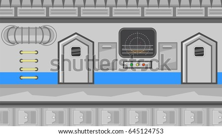 Seamless horizontal background with grey screen and big pipe for game