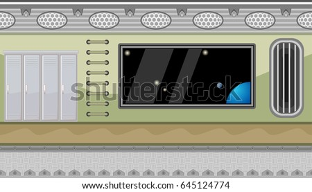 Seamless horizontal background with lockers and big window with space view for game