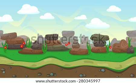 Seamless horizontal background with stones and flowers for game