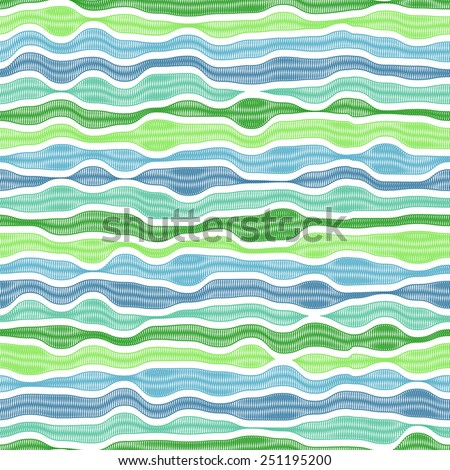 Seamless horizontal blue and green waves with scribble texture - stock vector