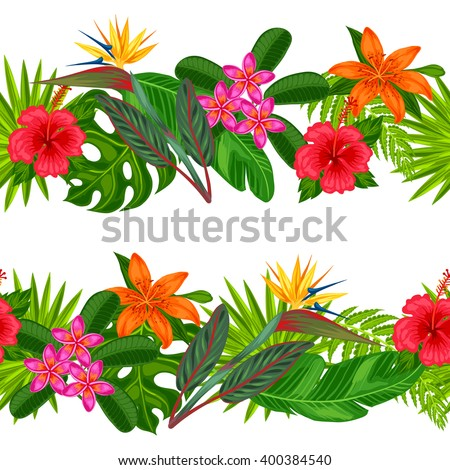 Seamless horizontal borders with tropical plants, leaves and flowers. Background made without clipping mask. Easy to use for backdrop, textile, wrapping paper. - stock vector