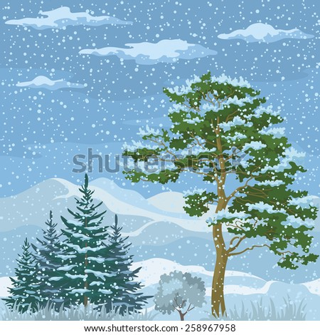 Seamless Horizontal Christmas Background, Winter Mountain Landscape with Pine Trees, Firs, Green Grass and Blue Sky with Snow and Clouds. Vector  - stock vector