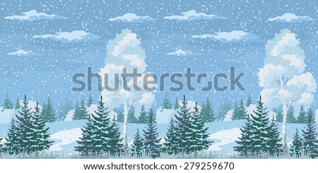 Seamless Horizontal Christmas Winter Forest Landscape with Birch, Firs Trees and Sky with Snow and Clouds. Vector - stock vector