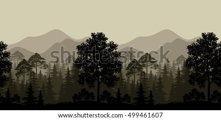 Seamless Horizontal Landscape, Evening Forest with Trees Silhouettes and Mountains. Vector